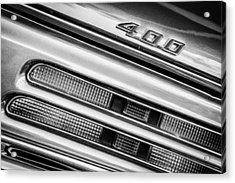 1969 Pontiac 400 Firebird Convertible Taillight Emblem -0029bw Acrylic Print