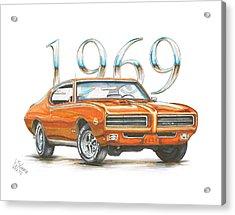 1969 Pontiac Gto Judge Acrylic Print by Shannon Watts