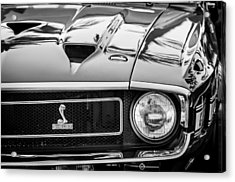 1969 Shelby Cobra Gt500 Front End - Grille Emblem -0202bw Acrylic Print