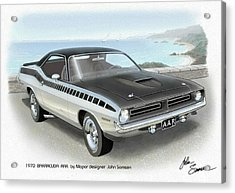 1970 Barracuda Aar Cuda Plymouth Muscle Car Sketch Rendering Acrylic Print by John Samsen