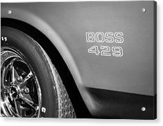 1970 Ford Mustang Boss 429 Wheel Emblem -0370bw Acrylic Print