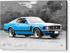 1970 Ford Mustang Boss Blue Watercolor Acrylic Print