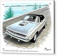1970 Hemi Cuda Plymouth Muscle Car Sketch Rendering Acrylic Print by John Samsen
