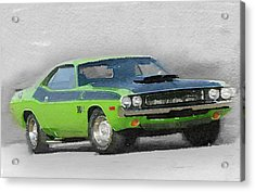 1970-ta-challenger Watercolor Acrylic Print by Naxart Studio