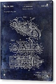 1970 Triumph Motorcycle Patent Drawing Blue Acrylic Print