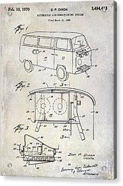 1970 Vw Patent Drawing Acrylic Print