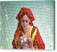 1970s Gypsy Woman Looking Into Crystal Acrylic Print