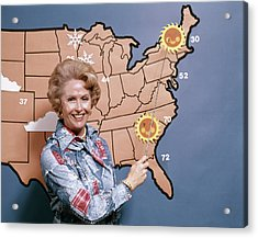 1970s Woman Reporting Weather Pointing Acrylic Print