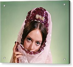 1970s Young Woman Hiding Part Of Face Acrylic Print
