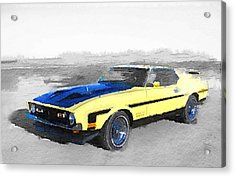 1971 Ford Mustang Boss Watercolor Acrylic Print by Naxart Studio