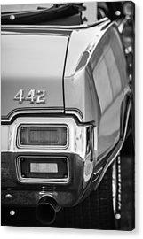 1971 Oldsmobile 442 Convertible Taillight Emblem -1683bw Acrylic Print