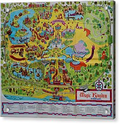 1971 Original Map Of The Magic Kingdom Acrylic Print