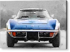 1972 Corvette Front End Watercolor Acrylic Print