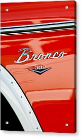 1973 Ford Bronco Custom 2 Door Emblem Acrylic Print by Jill Reger