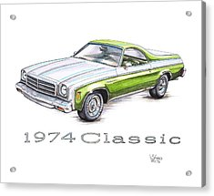 1974 El Camino Classic Acrylic Print by Shannon Watts