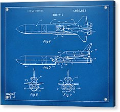 1975 Space Vehicle Patent - Blueprint Acrylic Print by Nikki Marie Smith