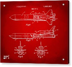 1975 Space Vehicle Patent - Red Acrylic Print