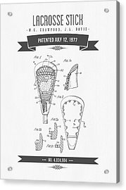 1977 Lacross Stick Patent Drawing - Retro Gray Acrylic Print by Aged Pixel