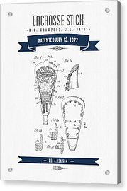 1977 Lacross Stick Patent Drawing - Retro Navy Blue Acrylic Print by Aged Pixel