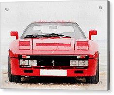 1980 Ferrari 288 Gto Front Watercolor Acrylic Print