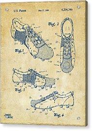 1980 Soccer Shoes Patent Artwork - Vintage Acrylic Print