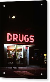 1980s Drug Store At Night Pink Neon Acrylic Print