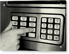 1980s Hand Pressing Buttons On Panel Acrylic Print
