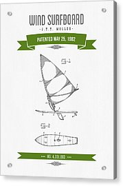 1982 Wind Surfboard Patent Drawing - Retro Green Acrylic Print