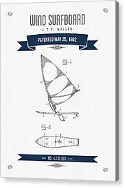 1982 Wind Surfboard Patent Drawing - Retro Navy Blue Acrylic Print