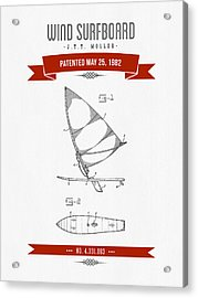 1982 Wind Surfboard Patent Drawing - Retro Red Acrylic Print