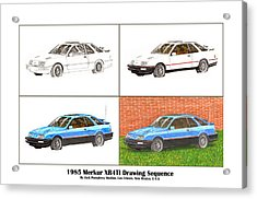 1985 Merkur Xr4ti Drawing Sequence Acrylic Print