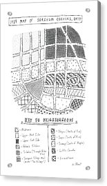 1989 Map Of Sorghum Corners Acrylic Print by Roz Chast