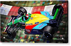 1989 Monaco Benettonb188 Ford Cosworth J Herbert Acrylic Print by Yuriy Shevchuk