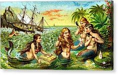 19th C. Mermaids At Ship Wreck Acrylic Print