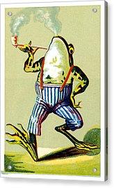 19th C. Pipe Smoking Frog Acrylic Print