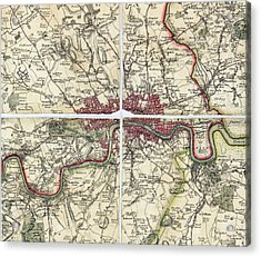 18th Century Map Of London Acrylic Print