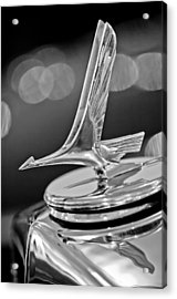 1932 Studebaker Dictator Custom Coupe Hood Ornament -0850bw Acrylic Print