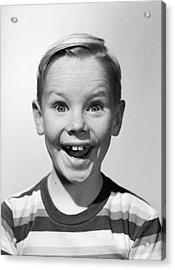 1950s Portrait Happy Smiling Boy Stripe Acrylic Print
