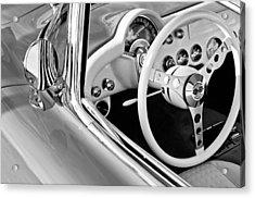 1957 Chevrolet Corvette Steering Wheel Emblem Acrylic Print by Jill Reger
