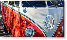 96 Inch Panoramic - 1961 Volkswagen Vw 23-window Deluxe Station Wagon Emblem Acrylic Print by Jill Reger