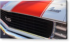 96 Inch Panoramic -1969 Chevrolet Camaro Rs-ss Indy Pace Car Replica Grille - Hood Emblems Acrylic Print by Jill Reger