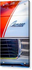 1969 Chevrolet Camaro Rs-ss Indy Pace Car Replica Hood Emblem Acrylic Print by Jill Reger