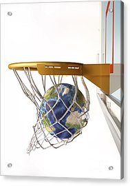 3d Rendering Of Planet Earth Falling Acrylic Print by Leonello Calvetti