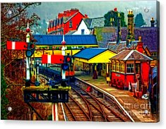 A Digitally Converted Painting Of Llangollen Railway Station North Wales Uk Acrylic Print