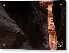 A Glimpse Of Al Khazneh From The Siq In Petra Jordan Acrylic Print by Robert Preston