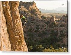 A Man Rock Climbing In Cochise Acrylic Print