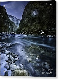 A River Flowing Through The Snowy Acrylic Print by Evgeny Kuklev