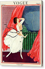 A Vogue Magazine Cover Of A Woman Acrylic Print by George Wolfe Plank