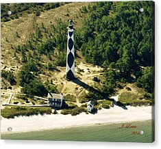 Aerial Of Cape Lookout Lighthouse Acrylic Print by James Lewis