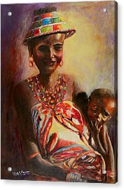 Acrylic Print featuring the painting African Mother And Child by Sher Nasser